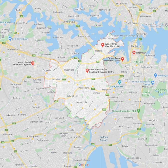 Inner West Sydney map